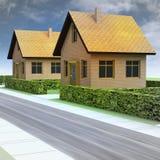 Straßenperspektive mit zwei neuen Häusern und Himmel stock abbildung