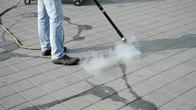 Straßenreinigung durch heißen Dampf, stock video