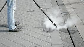 Straßenreinigung durch heißen Dampf, Technologie, stock video footage