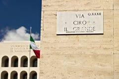 Straßenschild über Ciro das große an der Eur Straße wo der INPS I stockbilder