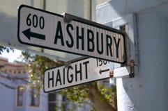 Straßenschild an der Kreuzung von Haight und von Ashbury, in San Francisco USA lizenzfreies stockfoto