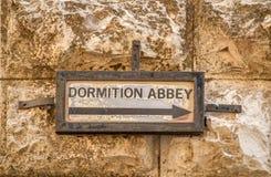 Straßenschild, die Dormitions-Abtei in Jerusalem, Israel Stockfotografie