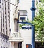 Straßenschild Main Street in im Stadtzentrum gelegenem Houston Lizenzfreies Stockfoto