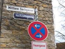 Straßenschild - mittlere Sackgasse - Waiblingen stockbild