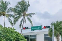 Straßenschild von Ozean-Dr. und von roter Ampel mit Palmen, n lizenzfreie stockbilder