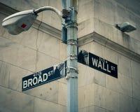 Straßenschilder von Wall Street und von ausgedehnter Straße Stockfoto