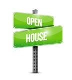 Straßenschildillustrationsdesign des offenen Hauses Stockfotos