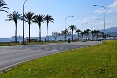 Straßenseeseite mit Verkehr und Palmen stockfotos