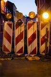 Straßensperre in der Stadt Stockfotos