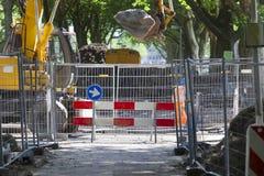 Straßensperre wegen des Straßenbaus lizenzfreies stockbild