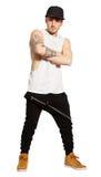 Straßenstadtkleidung Junger Mann im Studio, lokalisiert auf Weiß Png verfügbar lizenzfreies stockfoto