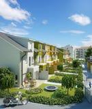 Straßenstadtwohnungen in 3D Stockbild