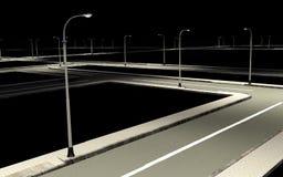 Straßenstraße mit Stadtlaterne in der Nacht Lizenzfreie Stockbilder