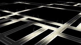 Straßenstraße mit Stadtstraßenkreuzung in der Nacht Stockbilder