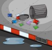 Straßenszene mit schmutzigem Abfall lizenzfreie abbildung