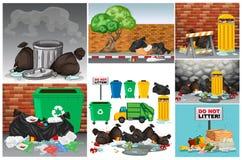 Straßenszenen mit Abfall und trashcans lizenzfreie abbildung