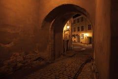 Straßentor nachts in der alten Stadt von Tallinn Lizenzfreies Stockfoto