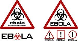 Straßenwarndreieck mit schwarzem Biohazardsymbol und ebola simsen Stockbild
