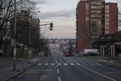 Straße Pilota Mihaila Petrovica im rakovica Belgrad Serbien lizenzfreies stockfoto