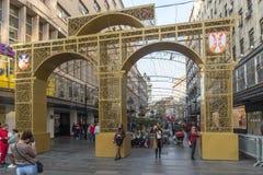 Straßen-Prinz Michael Street Knez Mihailova in der Mitte der Stadt von Belgrad, Serbien lizenzfreie stockfotografie