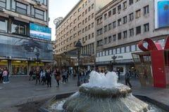 Straßen-Prinz Michael Street Knez Mihailova in der Mitte der Stadt von Belgrad, Serbien lizenzfreies stockbild