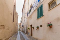 Straßenansicht Alghero, Sardinien-Insel, Italien lizenzfreies stockbild