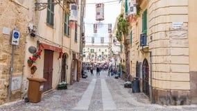 Straßenansicht Alghero, Sardinien-Insel, Italien stockfotografie