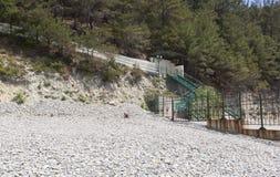 Straż Przybrzeżna słup graniczny o kurort ugodzie Praskoveevka Obraz Royalty Free