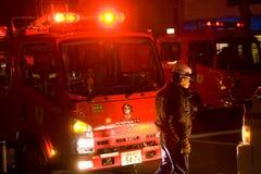 Strażacy podpalają w Tokio Zdjęcia Royalty Free