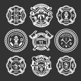 Strażak etykietki Biały set royalty ilustracja