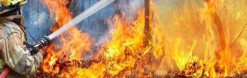 Strażak kiści woda pożar obrazy stock