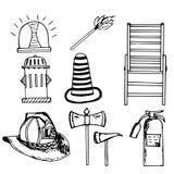 Strażak, nagłego wypadku set, doodle Obraz Royalty Free