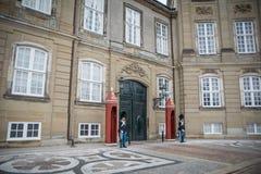 Strażnicy przed Amalienborg kasztelem Dani fotografia royalty free