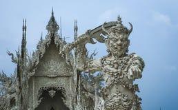 Strażnik ochrania Rong Khun świątynię Zdjęcie Royalty Free