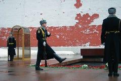 Strażnik zaszczyt zmiana. Trzy żołnierza. Zdjęcia Royalty Free