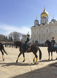 Strażowa montaż parada w Moskwa Kremlin Zdjęcia Royalty Free