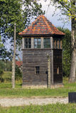 Strażowy wierza w Auschwitz Ja eksterminacja obóz zdjęcia royalty free