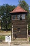 Strażowy wierza w Auschwitz Ja eksterminacja obóz obrazy stock