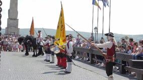 Strażowy zmiana korowód przy Alba Iulia fortecą, Europa, Rumunia zbiory