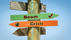 Stra?enschild-Boom gegen Krise lizenzfreies stockbild