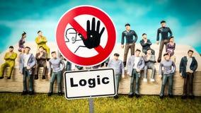 Stra?enschild-Intuition gegen Logik stockbilder