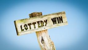 Stra?enschild zum Lotterie-Gewinn lizenzfreies stockbild