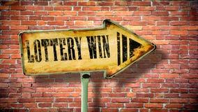 Stra?enschild zum Lotterie-Gewinn stockbilder