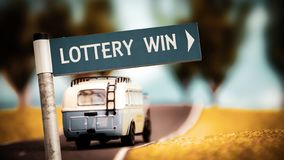 Stra?enschild zum Lotterie-Gewinn lizenzfreies stockfoto
