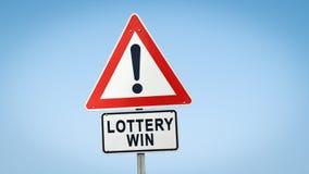 Stra?enschild zum Lotterie-Gewinn lizenzfreie stockfotografie