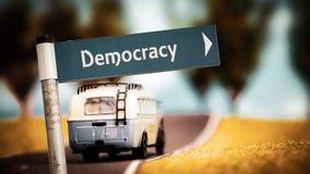 Stra?enschild zur Demokratie lizenzfreies stockfoto