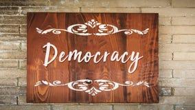 Stra?enschild zur Demokratie lizenzfreies stockbild