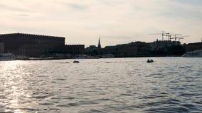 Straal-ski in het overzees in Stockholm, Zweden stock videobeelden