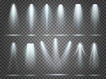 Straal van schijnwerper, illuminators lichten, de schijnwerper van de stadiumverlichting De partijschijnwerpers en schijnwerpers  royalty-vrije illustratie