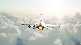 Straal, vechter die over wolken vliegen Oorlog en wapenconcept het 3d teruggeven royalty-vrije illustratie